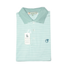 Powder Teal & White Classic Stripe Performance Polo - Knit Collar