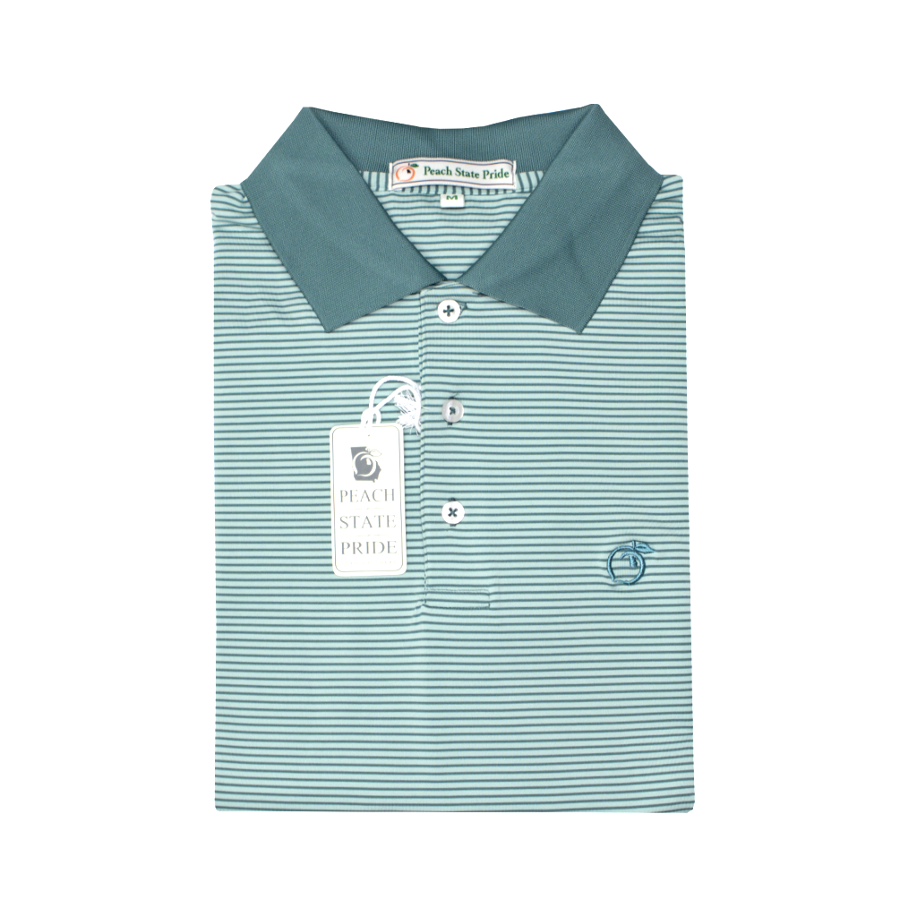 Sea Pine & Powder Teal Azalea Stripe Performance Polo - Knit Collar