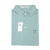 Sea Pine & Powder Teal Azalea Stripe Performance Polo - Self Collar