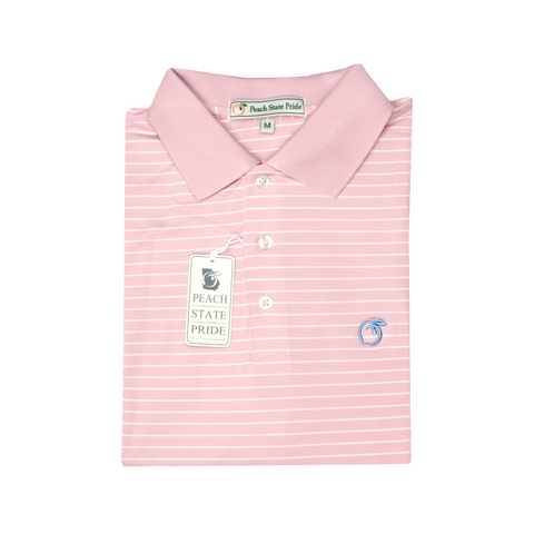 Powder Teal & White Azalea Stripe Performance Polo - Self Collar