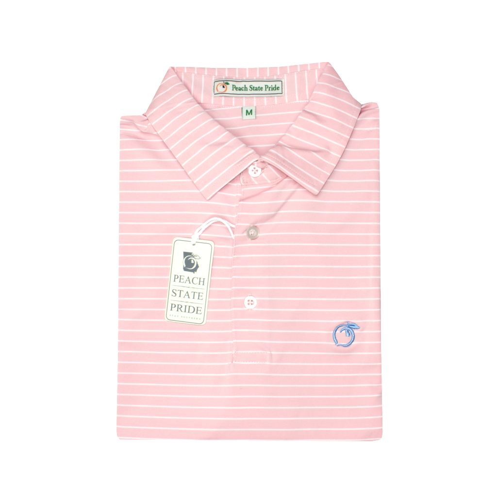 Soft Pink Magnolia Stripe Performance Polo - Self Collar