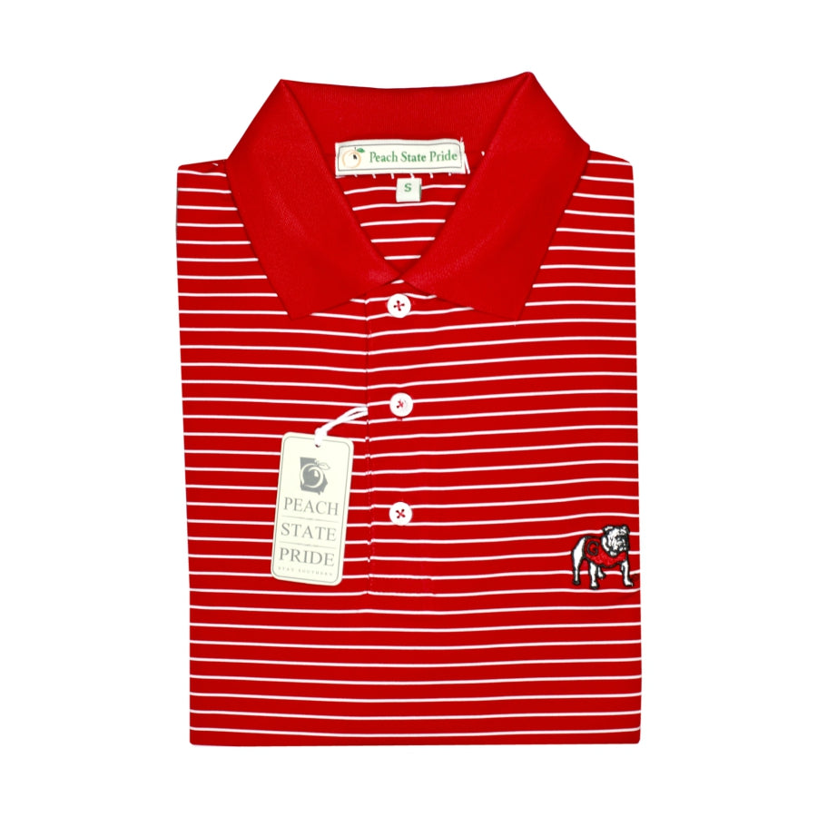 UGA Standing Dawg Red & White Magnolia Stripe Polo - Knit Collar