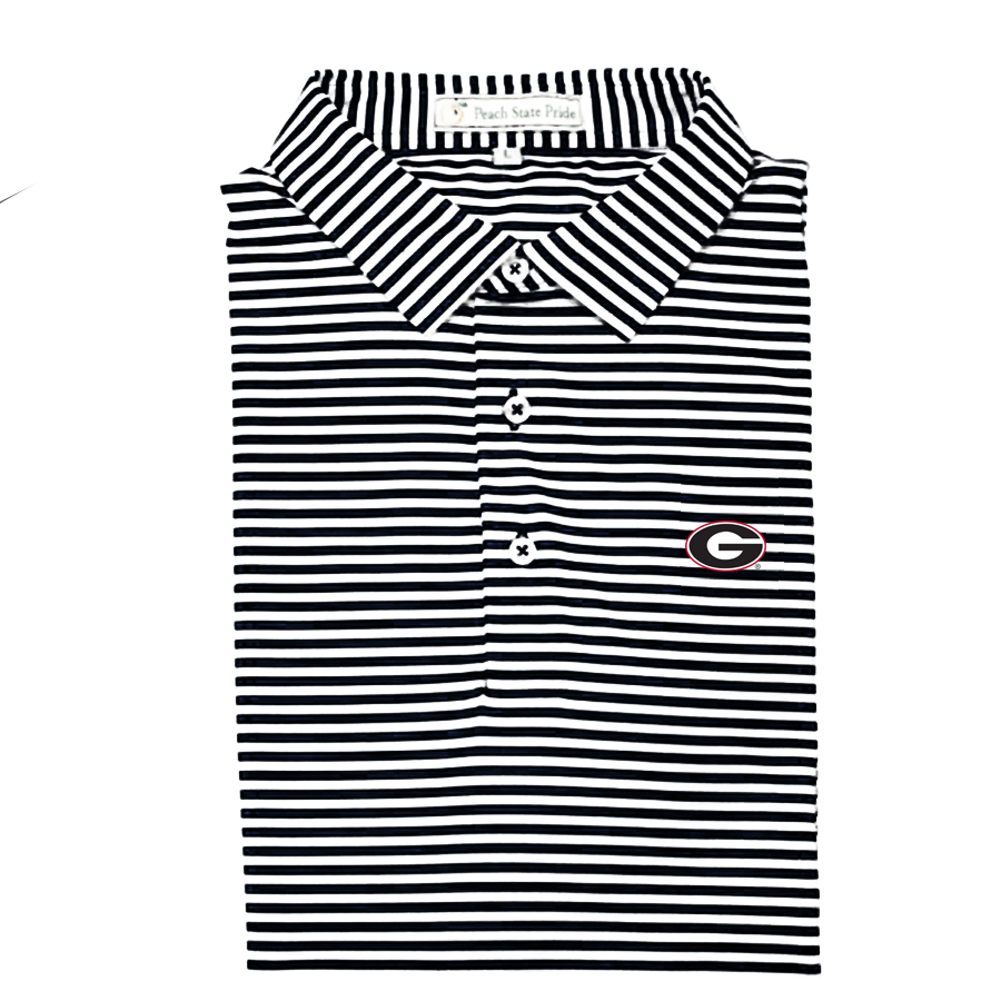 UGA Super G Black & White Classic Stripe Polo - Self Collar