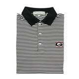 UGA Super G Black & White Classic Stripe Polo - Knit Collar