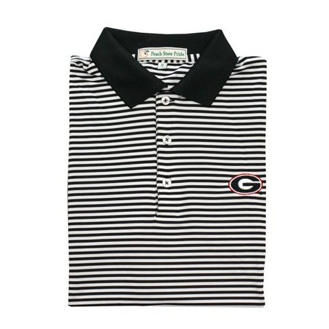 UGA Standing Dawg Red & Black Birch Stripe Polo - Knit Collar