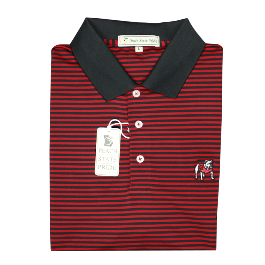 UGA Standing Dawg Red & Black Classic Stripe Polo - Knit Collar