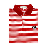 UGA Super G Red & White Classic Stripe Polo - Knit Collar
