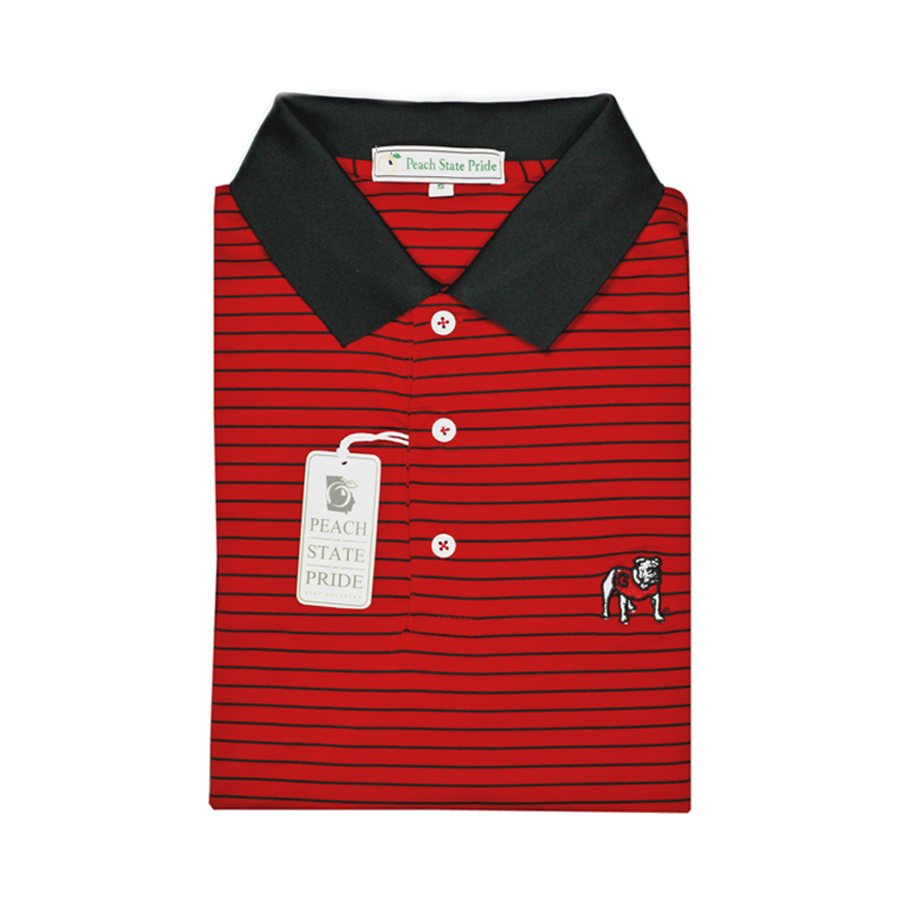 UGA Standing Dawg Red & Black Magnolia Stripe Polo - Knit Collar
