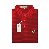 UGA Standing Dawg Red & Black Magnolia Stripe Polo - Self Collar