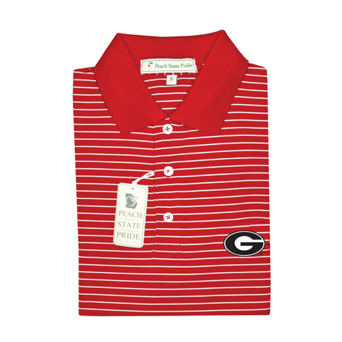 UGA Super G Georgia Birch Stripe Polo - Knit Collar