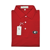 UGA Super G Red & Black Magnolia Stripe Polo - Self Collar