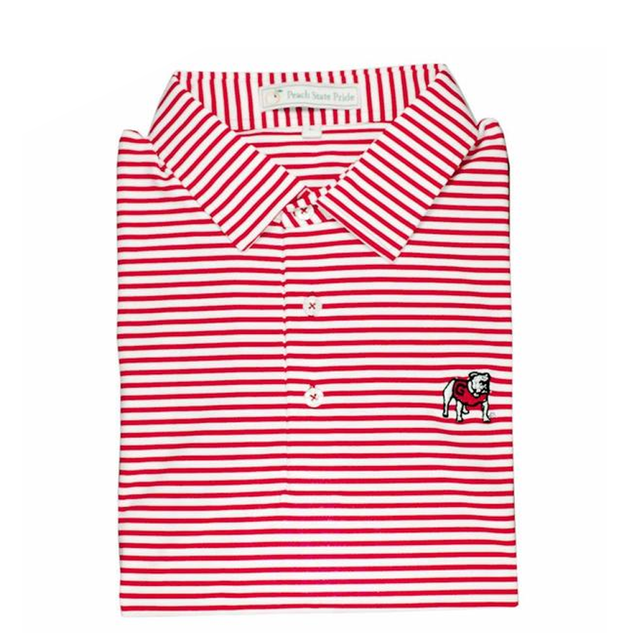 UGA Standing Dawg Red & White Classic Stripe Polo - Self Collar