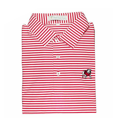 Washed Red & Navy Honeysuckle Stripe Performance Polo - Self Collar