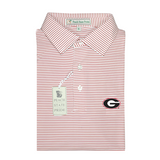 UGA Super G Red & White Dogwood Stripe Polo - Self Collar