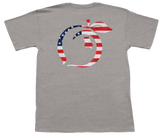 USA Flag Peach Short Sleeve Pocket Tee
