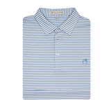 Lake Blue & White Honeysuckle Stripe Performance Polo - Self Collar