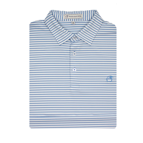 Ocean Blue & Soft Pink Azalea Stripe Performance Polo - Self Collar