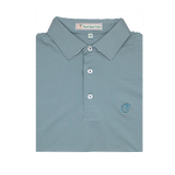Sea Pine & White Azalea Stripe Performance Polo - Self Collar