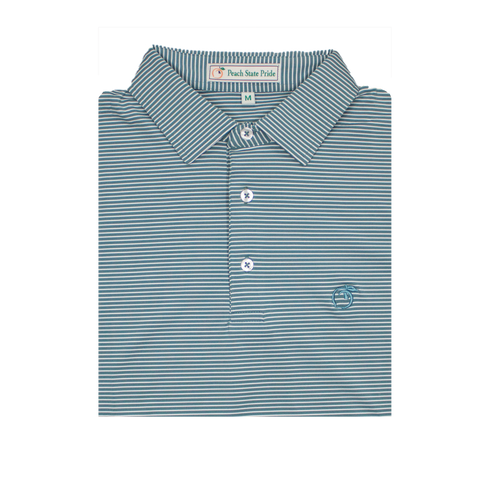 Coral & Ocean Blue Magnolia Stripe Performance Polo - Knit Collar