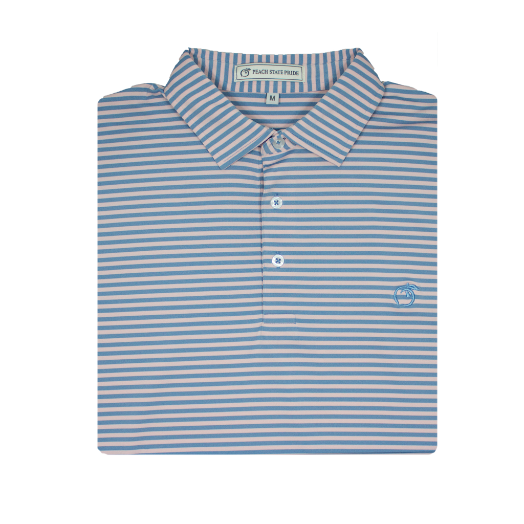 Lake Blue & Soft Pink Classic Stripe Performance Polo - Self Collar