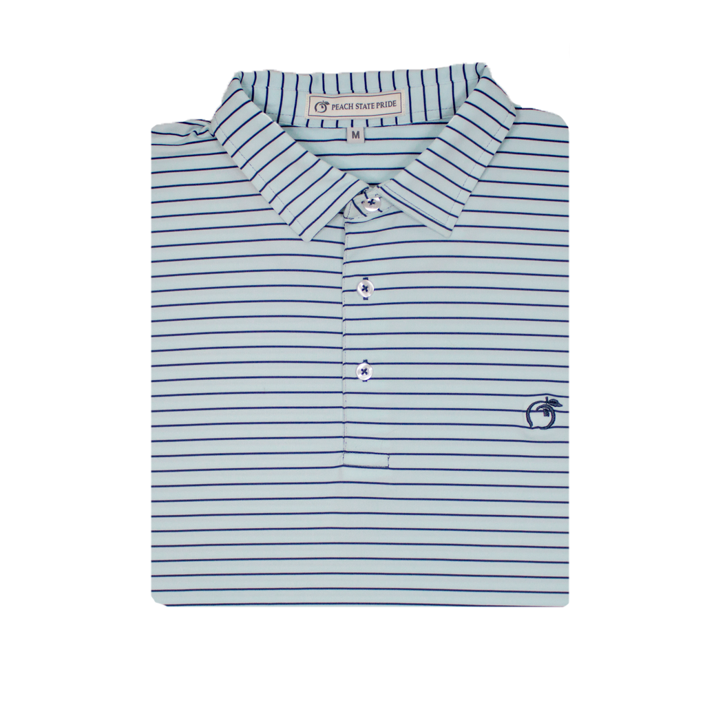Mint & Navy Magnolia Stripe Performance Polo - Self Collar