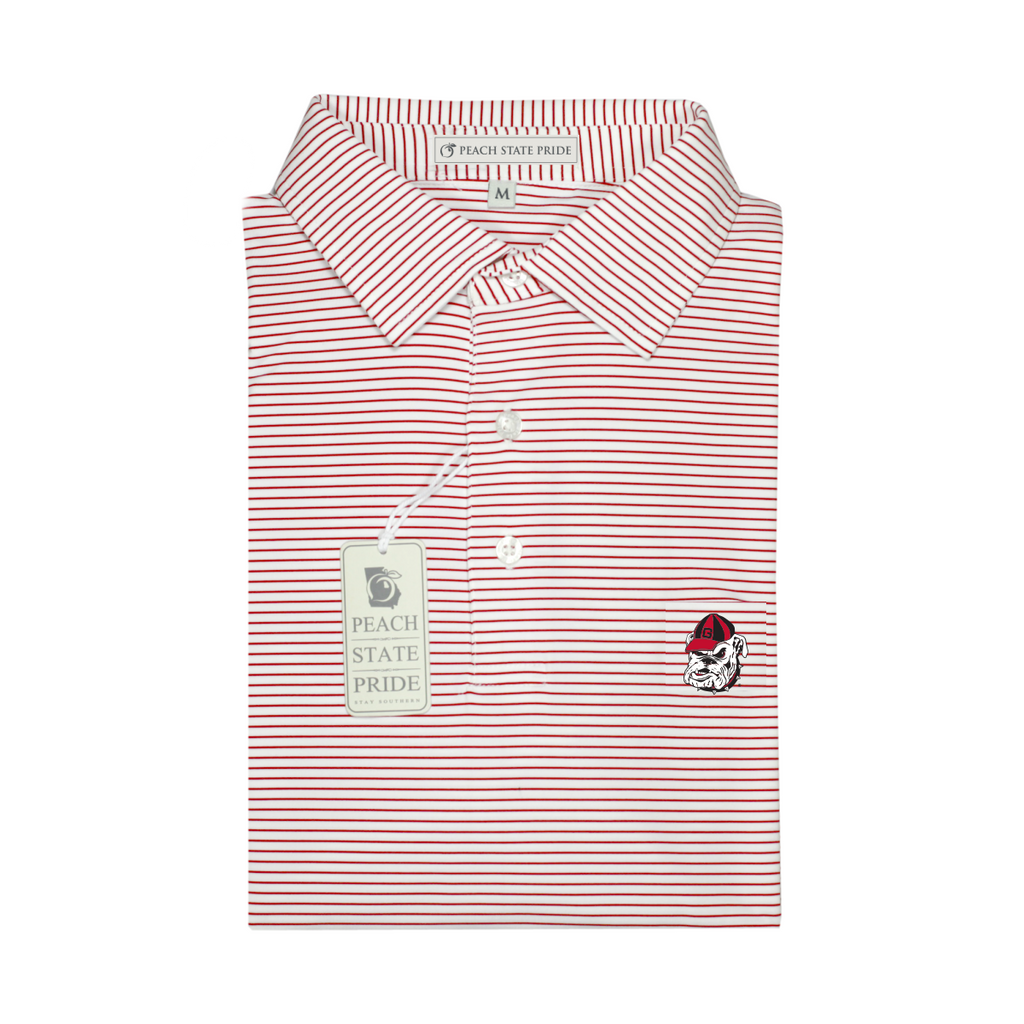 UGA Bulldog Head Red & White Dogwood Stripe Polo - Self Collar