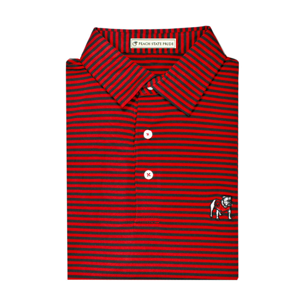UGA Standing Dawg Red & Black Classic Stripe Performance Polo