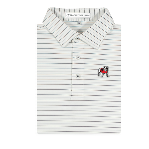 UGA Standing Dawg Red & White Classic Stripe Polo - Knit Collar