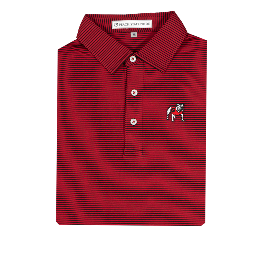 red-and-black-peach-state-pride-standing-dawg-performance-polo-azalea-stripe
