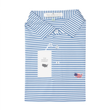 USA Sky Blue & White Classic Stripe Performance Polo - Self Collar