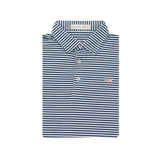 American Co. Navy & White Classic Stripe Performance Polo - Self Collar