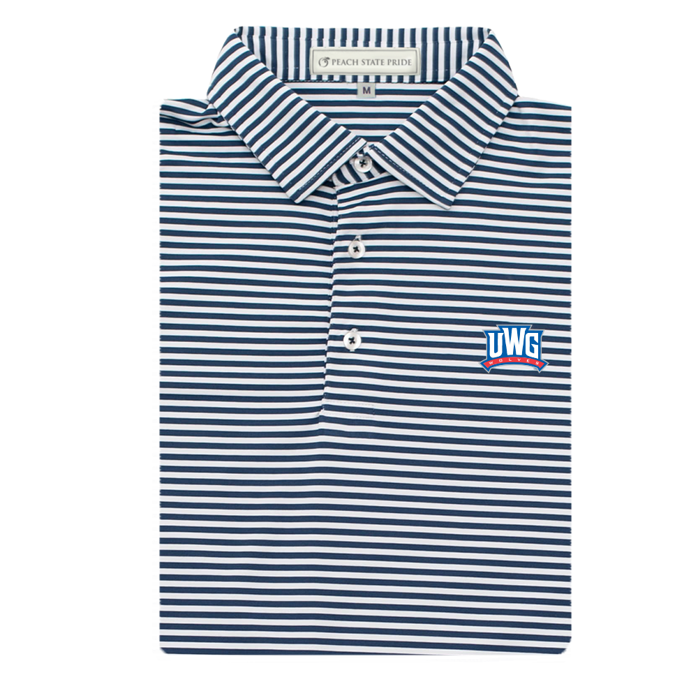 UWG Navy & White Classic Stripe Performance Polo - Self Collar