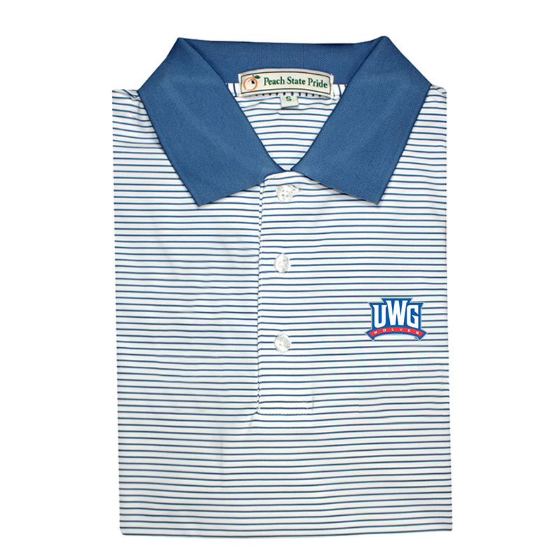 UWG Navy & White Dogwood Stripe Performance Polo - Knit Collar