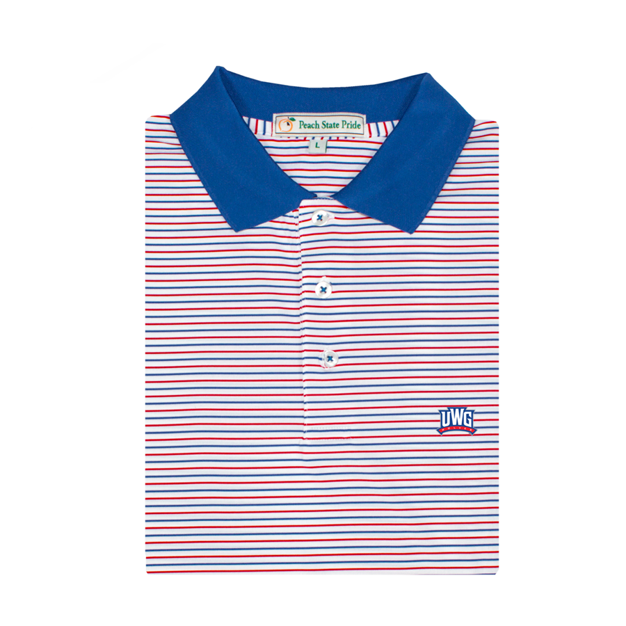 UWG Red & Royal Birch Stripe Performance Polo - Knit Collar