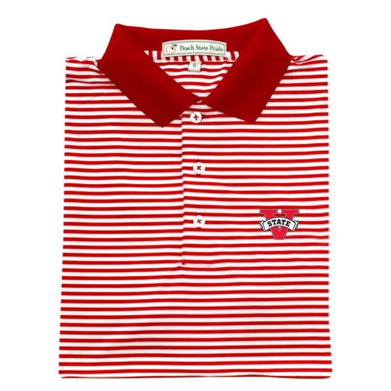 VSU Red & White Classic Stripe Performance Polo - Knit Collar