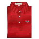 VSU Red & Black Magnolia Stripe Performance Polo - Self Collar