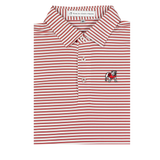 YOUTH UGA Standing Dawg Red & White Honeysuckle Stripe Polo