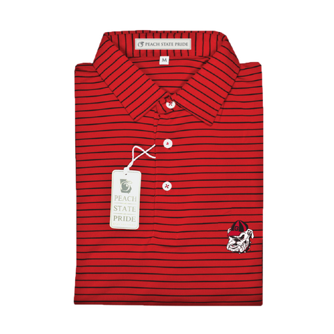 UGA Standing Dog Red & Black Betula Stripe Polo