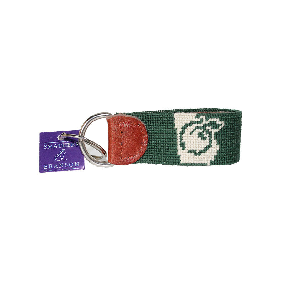 Needlepoint Peach Key Fob