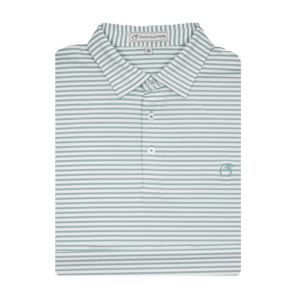 Powder Teal & White Honeysuckle Stripe Performance Polo