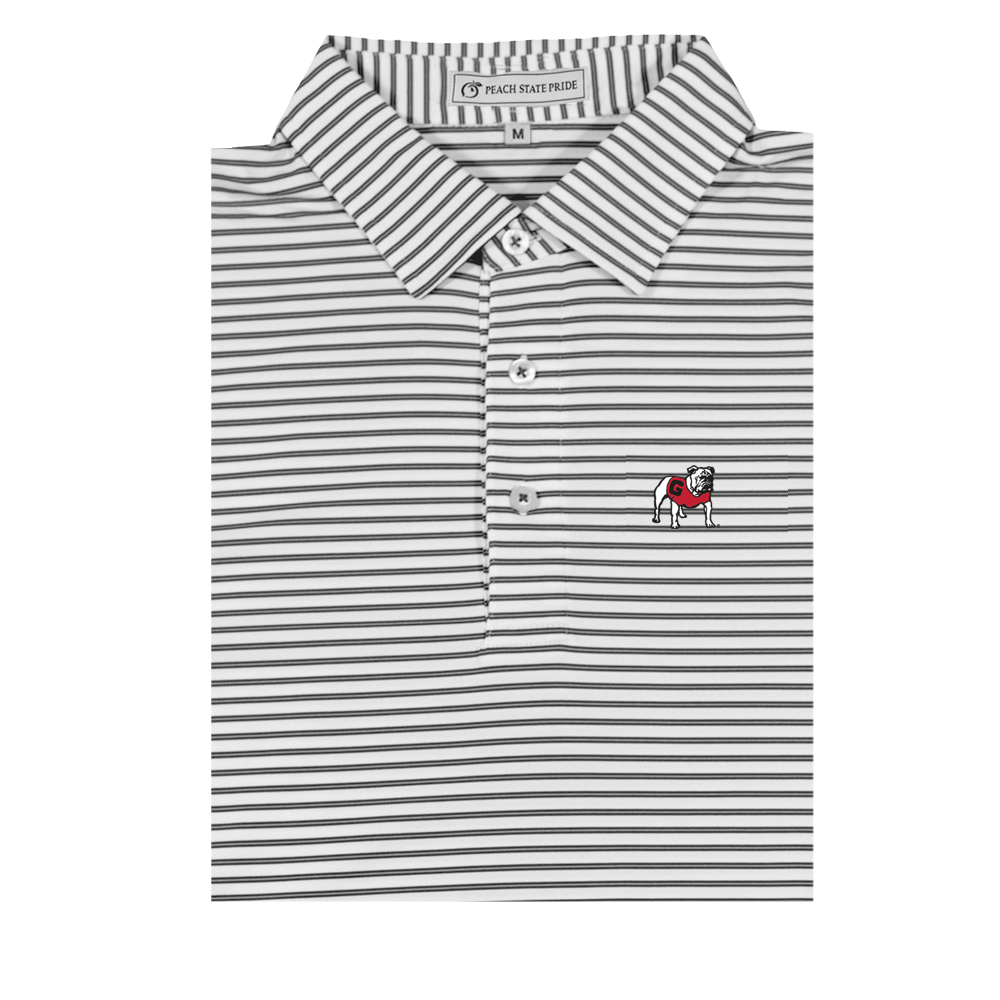 UGA Standing Dawg Charcoal & White Honeysuckle Stripe Polo