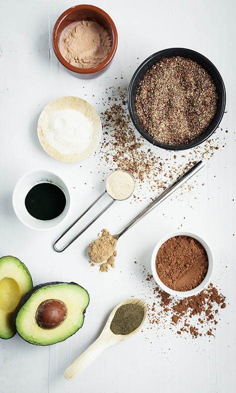 Ingredients for Super-Shake (instant): Milled flax seed, Cacao Powder, Maca, Banana powder, Lucuma, Camu Camu, Seagreens® ascophyllum, Spirulina, Chlorella