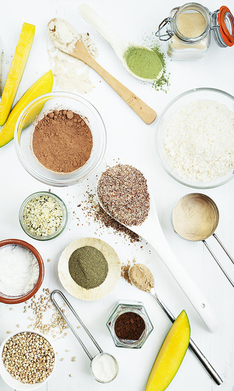 Ingredients for Dr Gaye Super-Blend: Hulled Hemp, Sprouted Buckwheat, Coconut Flour, Cacao Powder, Banana Powder, Milled Flaxseed, Maca Powder, Ground Almonds, Moringa, Lucuma, Seagreens® Ascophyllum, Boabab Powder, Mesquite, Reishi Mushroom Powder