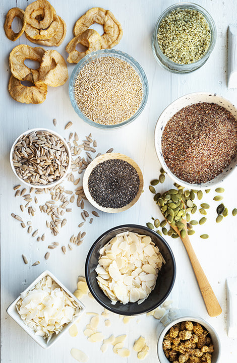 Ingredients for Super-Cereal: Chia Seeds, Sprouted Buckwheat, Hulled Hemp, Milled Flax Seeds, Flaked Almonds, Coconut Chips, Apricot Pieces, Dried White Mulberries, Pumpkin Seeds