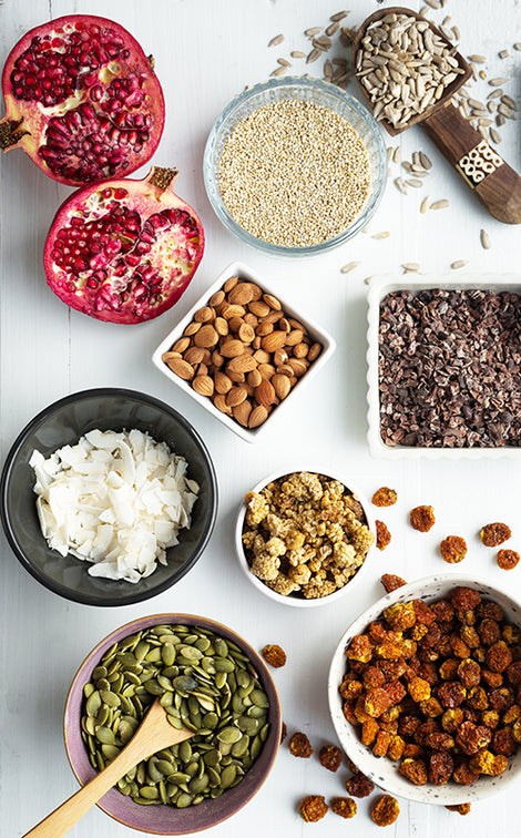 Ingredients for Dr Gaye Super-Spoonful: coconut flakes, pumpkin seeds, buckwheat, cacao nibs, sunflower seeds, mulberries, incan berries, golden berries, Apricot Kernels