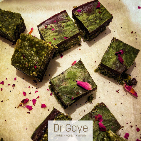 Matcha Blondies - gluten free, grain free, vegan, sugar free recipe - Dr Gaye