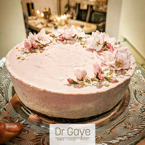 Raw Vegan Strawberry Cheesecake with Dr Gaye Super-Blend