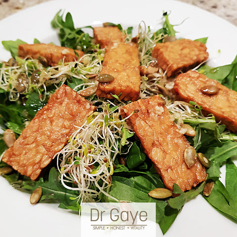 Tempeh Steak Recipe - vegan, gluten free, sugar free - Dr Gaye
