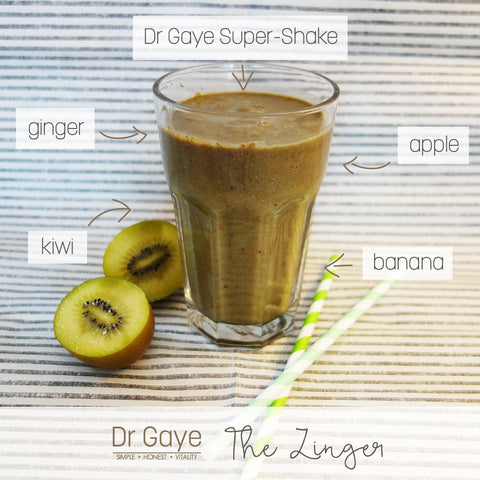 The Zinger - Dr Gaye Super-Shake Recipe - health shake with ginger, kiwi, apple, banana
