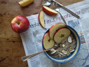 Dr Gaye Super-Porridge - superfood grain free gluten free porridge - health food products - natural raw organic - porridge with apple slices on newspaper